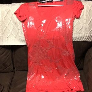 Size small coral sequined mini tshirt dress